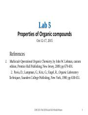 Lab 5.Properties of Organic Compounds -Fall 15- Notes