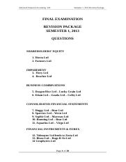 Semester 1, 2013 Final Exam Revision Questions