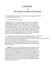 Chapter Four - The Game Consists of Elements