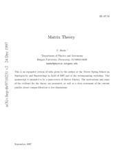 Banks T. - Matrix Theory [jnl article]