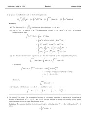 Exam 3 Solution Spring 2014 on Calculus 1 for Engineers