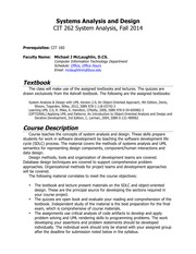 Syllabus Cit262 Fall2014 Systems Analysis And Design Cit 262 System Analysis Fall 2014 Prerequisites Cit 160 Faculty Name Michael J Mclaughlin D Cs Course Hero