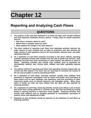 Reporting and Analyzing Cash Flows Outline