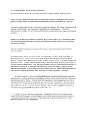 case study 1 ups competes globally Competes globally with summary of case study 1 summary of case study 2 case study questions and answers 3 conclusion united parcel service.