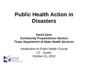 20101021 Public Health Action in Disaster UT Austin zane