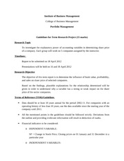 Guidelines for term report- Spring 2012