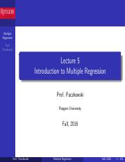 Lecture 5 Multiple Regression
