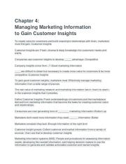 Chapter 4-  Managing Marketing Information  to Gain Customer Insights