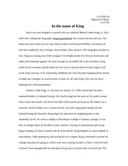 essay on Martin Luther King Jr