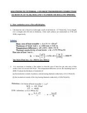 SOLUTIONS TO TUTORIAL 1 ON HEAT TRANSFER BY CONDUCTION