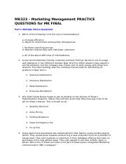 MK323 – Marketing Management PRACTICE QUESTIONS for MK FINAL.docx