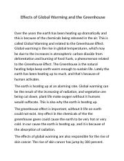 Effects of Global Warming and the Greenhouse.doc
