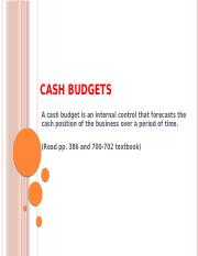 Wk 14 - Cash Budgets and Case Study (1)