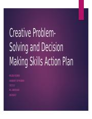 Creative Problem-Solving and Decision Making Skills Action Plan