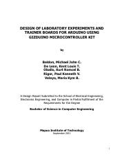 Design of Laboratory Experiments and Trainer Boards for Arduino Using Gizduino Microcontroller Kit F