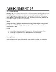 Private Security Assignment 7