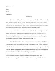 Health Essay- introduction to course