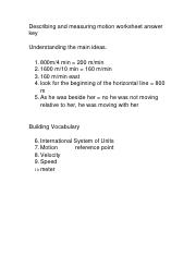 Describing and measuring motion worksheet answer key (1)
