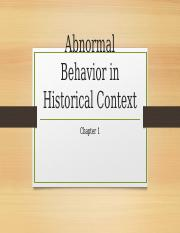 Chapter 1 - Abnormal Behavior in Historical Context