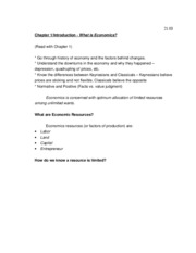 Macroeconomics Notes Chapters 1-4