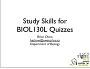 BIOL130L Study Skills Workshop
