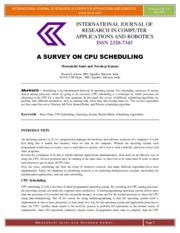 A SURVEY ON CPU SCHEDULING
