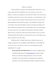 Taking Care of Business Essay