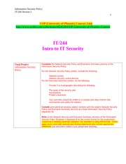 IT 244 Week 9 Final Project - Information Security Policy