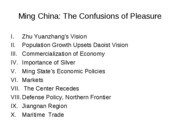 Lecture 24, Ming Empire, Confusions of Pleasure