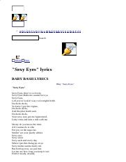 BABY BASH LYRICS - Sexy Eyes.html