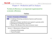 production and cost analysis