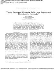 Resource - Article - Taxes, corporate financial policy and investment decisions.pdf