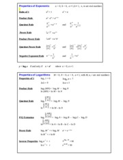 Properties of Exponents and Logs