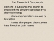 Elements & Compounds