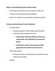 Ways of classifying financial markets Notes