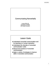 Lecture 13 - Communicating Nonverbally