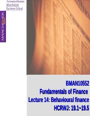 Lecture 14: Behavioural Finance