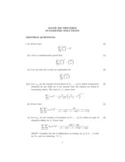 Introduction to Combinatorics MATH 239 1051Midterm questions and solutions