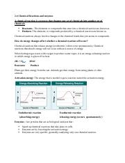 chemical reaction and enzymes