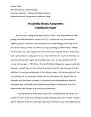 Personality Moasic A Reflective Paper