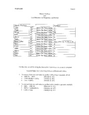 Lab 2 Worksheet with Metric Units