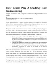 How Leases Play A Shadowy Role In Accounting