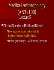 Abridged Lecture 5 Food Security, Social Justice and the Right to Food
