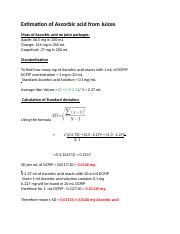 Estimation of Ascorbic acid from Juices Sample Calculations.docx