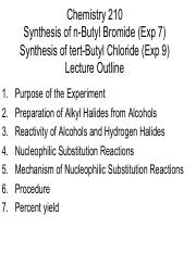 210 Lecture 7 Synthesis of Alkyl Halides