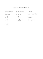 Constants and Equations for Exam