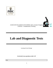 LAP 3 Lab and Diagnostic Tests