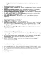 Study Guide for the  First Exam  Business Statistics  ADMIN 420  Fall 2016.docx