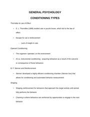 Types of Conditioning Review Guide
