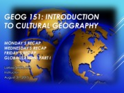 GEOG151- Lecture Globalization 2
